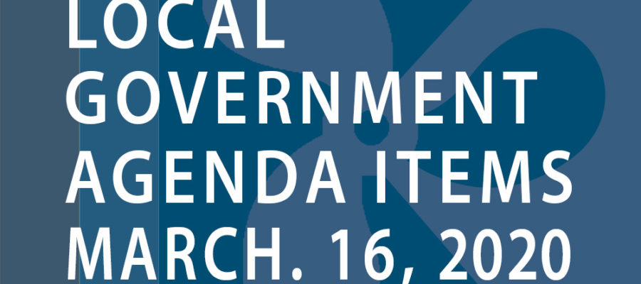 SWFMIA local government agenda items for the week of March 16, 2020